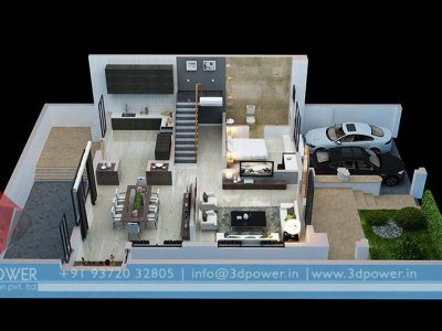 apartment 3d cut section floor plan for ground floor