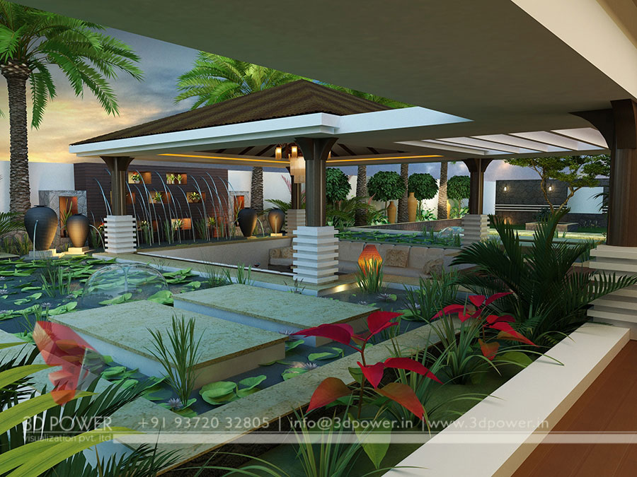 Bungalow Exterior Landscape Designing For Drawing Area 3d Rendering