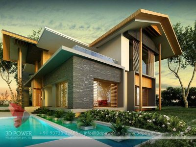 awesome bungalow landscape rendering 3d design with photo realistic
