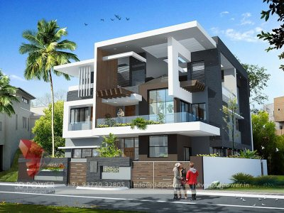 bungalow exterior 3d rendering day view designing