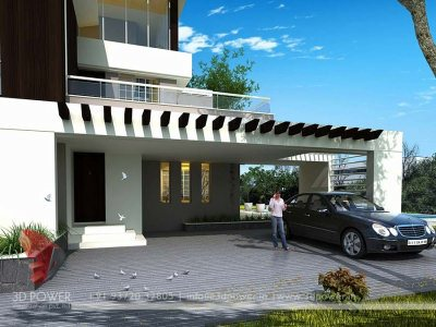 bungalow exterior 3d rendering with parking area