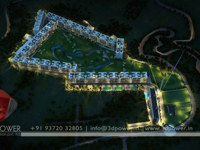 3d night bird eye golf club rendering
