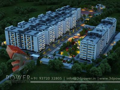 3d night bird eye township rendering visualization