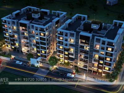 luxurious apartment night visualization architectural rendering bird eye view