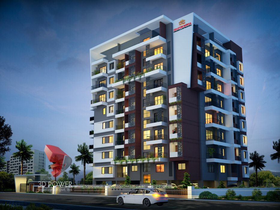 ... 3d Apartment Night View, Apartment 3d Exterior Day View, 3d Apartment  Elevation Rendering ...