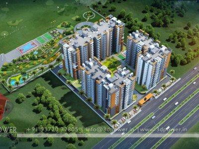 apartment 3d bird eye view rendering, apartment 3d elevation,3d architectural rendering services