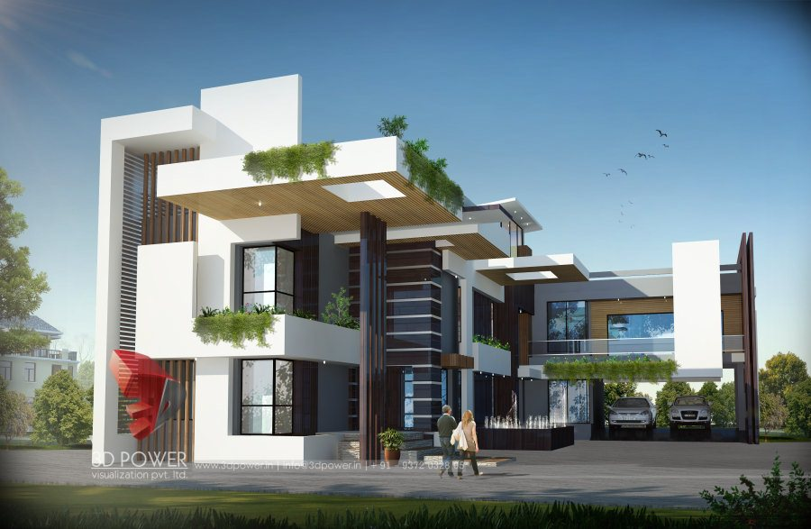 Bungalow elevation design luxurious 3d modern bungalow for Bungalow outside design