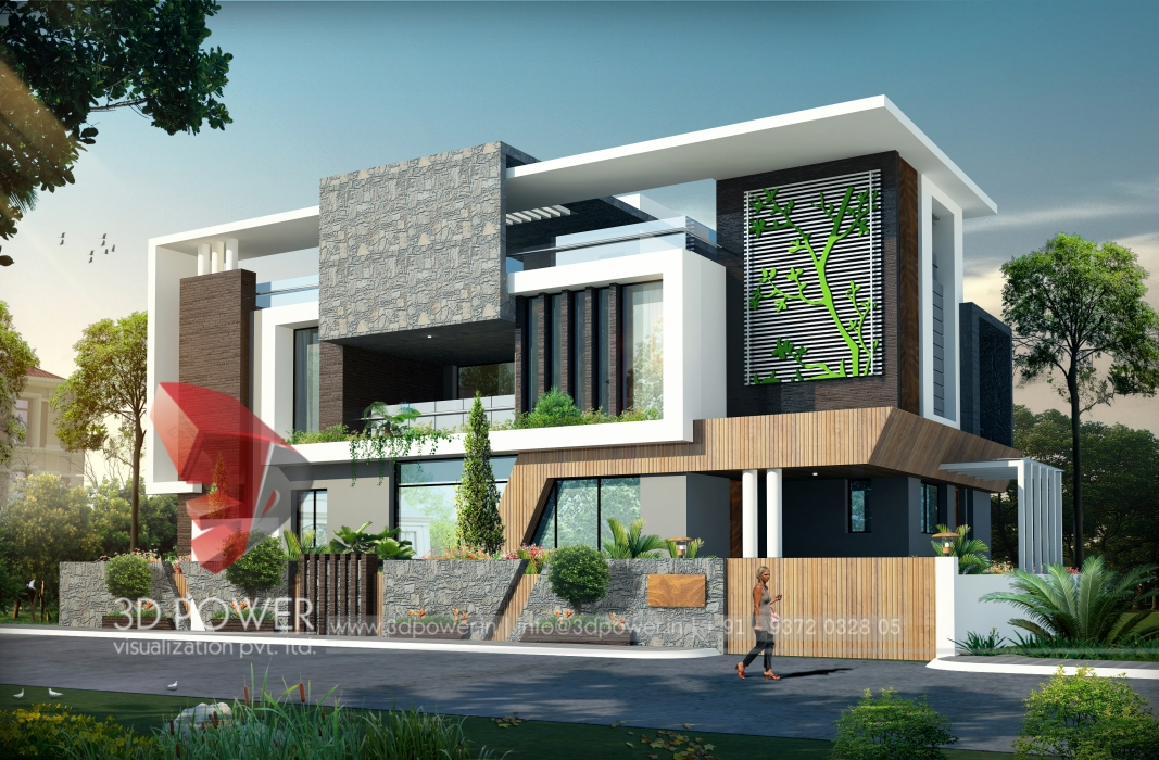 Contemporary villa elevation contemporary house for Contemporary home design plans
