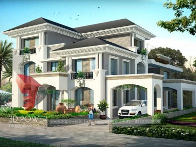 3D Bungalow Visualization Render, bungalow, 3d bungalows