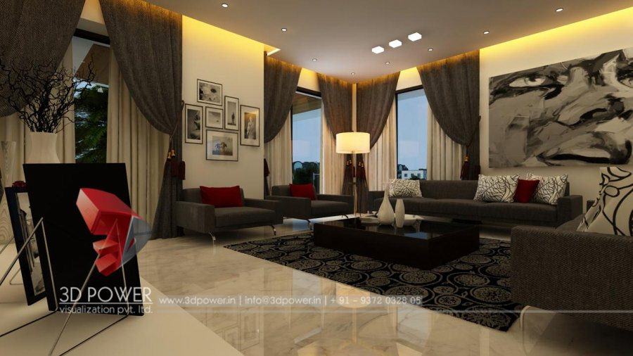 3d living drawing interior drawing room interior design for Living room 3d view