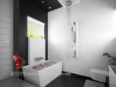 awesome white and black combination bungalow bath room interior 3d rendering visualization, Bathroom