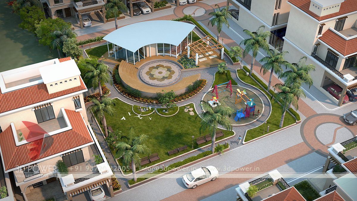 Architectural Visualization Animation Landscape Designs 3D Township Bird Eye View