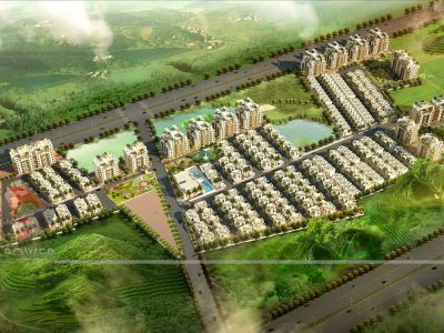 3D Township Visualization Bird Eye View,Township